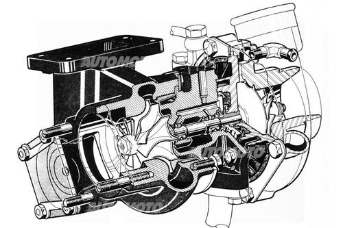 In questo disegno si possono osservare gli organi interni di un tipico turbo, unitamente ai passaggi per l'olio che lubrifica le due bussole flottanti sulle quali ruota l'albero delle giranti
