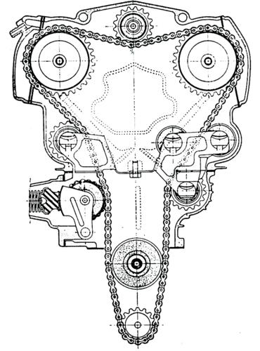 In passato sono stati realizzati sistemi di tensionamento delle catene di distribuzione di notevole complessità. Questo appartiene a una Honda CB 450. Funzionava a dovere, ma era costoso (si noti il numero di componenti)