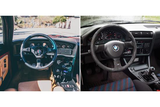 Gli interni lato guida di Alfa SZ e BMW M3 E30