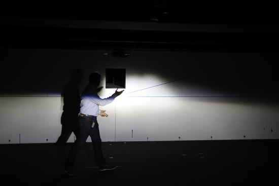 Il fascio abbagliante centrale del sistema laser misurato in laboratorio