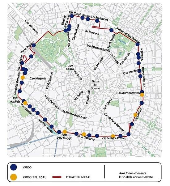 La mappa Area C di Milano