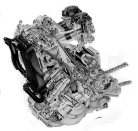 Il DR Big 750 della Suzuki al suo apparire ha fatto scalpore per la cilindrata inusitata (che in seguito è stata addirittura portata a 800 cm3!). Nel disegno si possono osservare i due alberi ausiliari di equilibratura e l'albero a camme in testa che aziona quattro valvole tramite bilancieri a tre bracci. Questo motore aveva un raffreddamento misto aria-olio