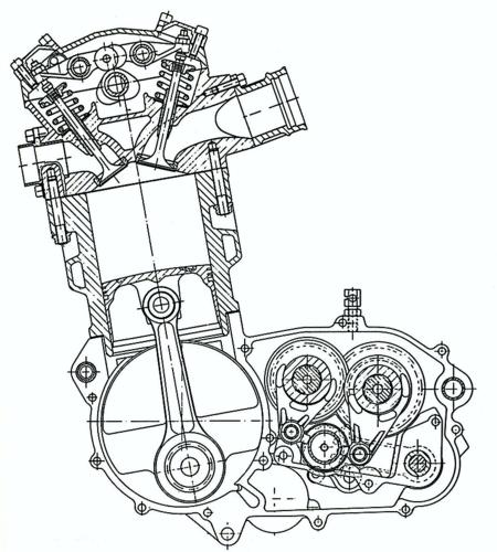 """Studiato per moto destinate a un impiego agonistico o a un fuoristrada """"vero"""", il monocilindrico KTM apparso nella seconda metà degli anni Ottanta era un semplice e razionale monoalbero a quattro valvole con raffreddamento ad acqua, che non impiegava alcun albero ausiliario"""