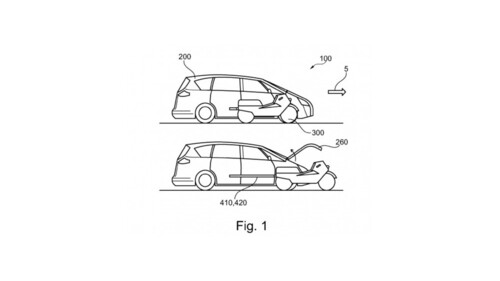 Ford brevetta l'auto che ospita uno scooter al proprio interno