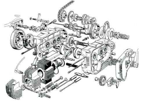 Questo esploso consente di osservare chiaramente la struttura del motore a quattro tempi di 99 cm3 della Parilla Slughi, presentata alla fine del 1957. La versione con motore a due tempi, entrata in produzione nel 1959, aveva una cilindrata di 114 cm3