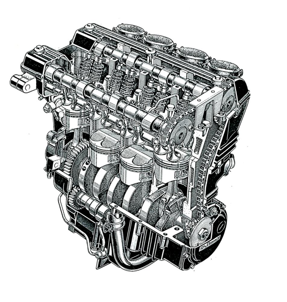 1- La Kawasaki GPz 900 R ha davvero aperto una nuova era per le quadricilindriche in linea. Il suo motore, qui mostrato, era raffreddato ad acqua. La catena di distribuzione era piazzata lateralmente e l'albero a gomiti poggiava su cinque supporti di banco. In più, c'era anche un albero ausiliario di equilibratura