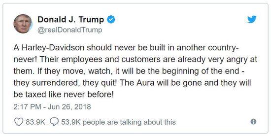Il Tweet del presidente USA Donald Trump a proposito della delocalizzazione annunciata da H-D