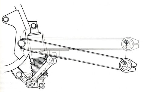 Questa è la seconda versione della sospensione Uni-trak della Kawasaki. Come si può osservare l'ammortizzatore è collegato superiormente al telaio e inferiormente a una estremità della manovella del leveraggio articolato