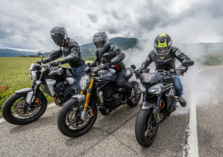Ducati Monster 1200S v Honda CB1000R v Triumph Speed Triple RS