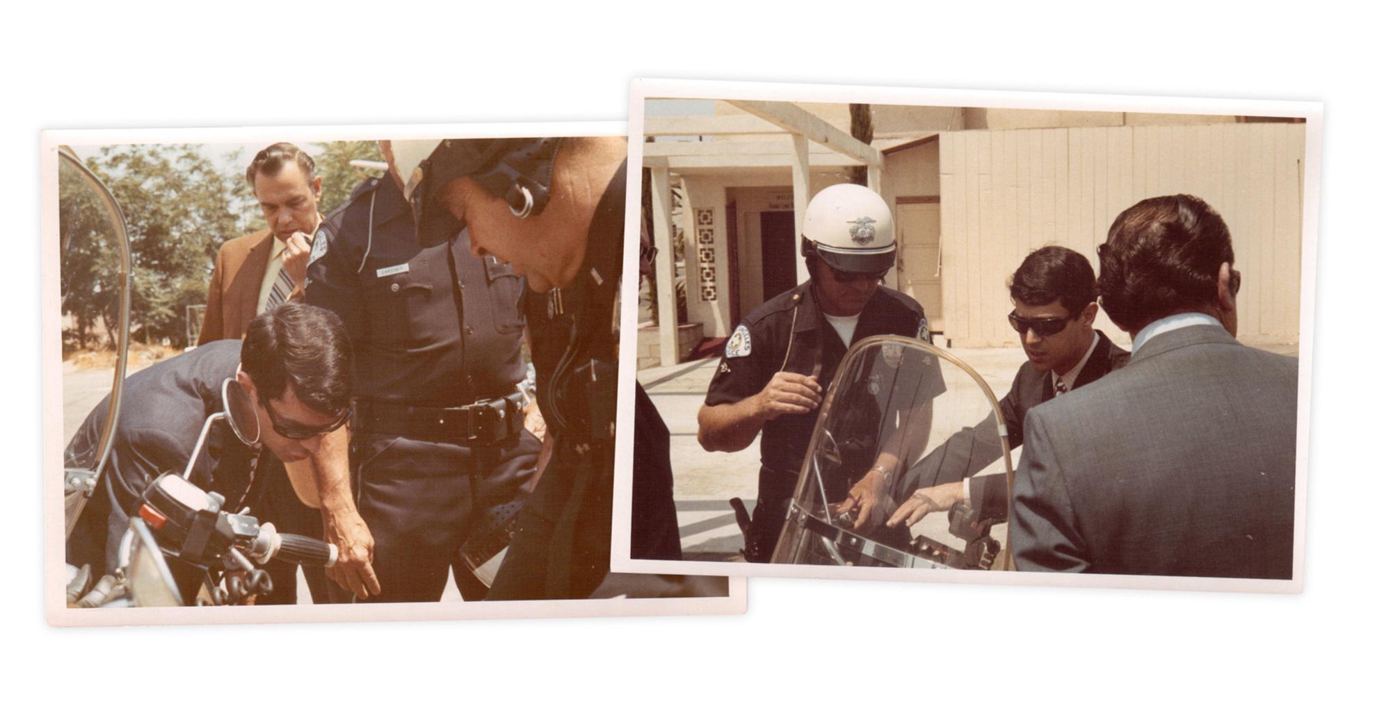 LAPD, 1970: Enrico De Vita mostra le modifiche alla V7 ai responsabili della polizia californiana