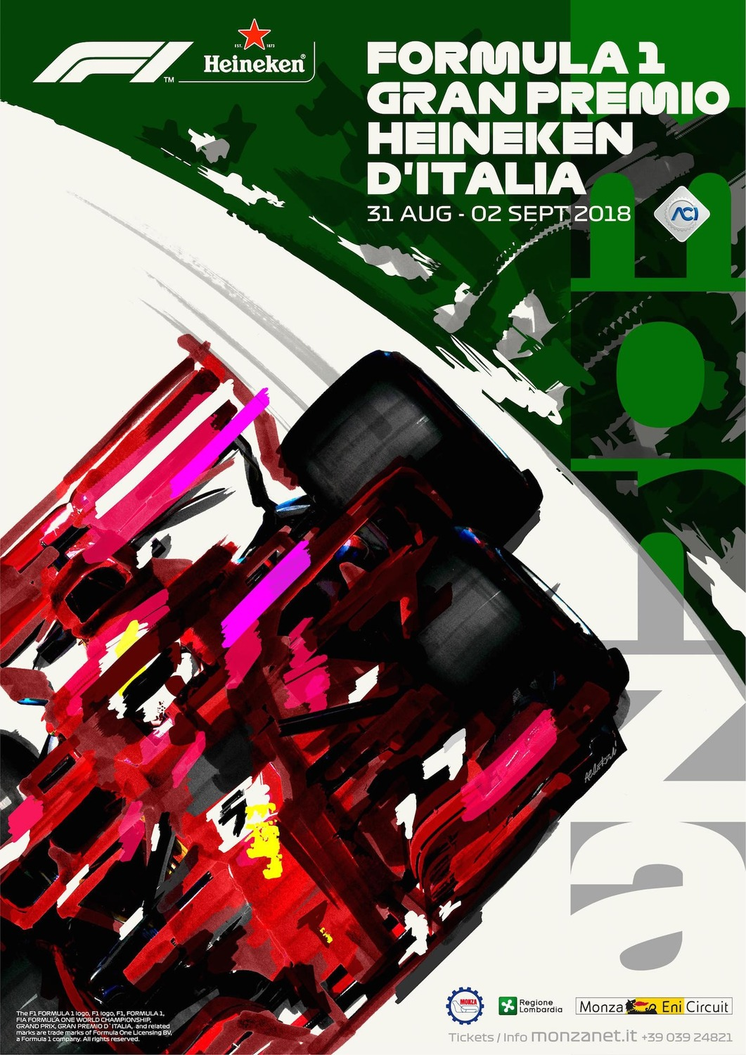 f1 gp italia 2018 aldo drudi firma il poster di monza news. Black Bedroom Furniture Sets. Home Design Ideas