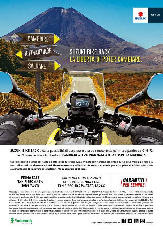 Suzuki Bike Back: finanziamenti ed estensioni garanzia