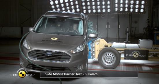 Ford Tourneo Connect sottoposto ad un impatto laterale