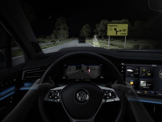 Campo visivo largo e modulabile, con copertura o evidenza per auto, pedoni e segnali
