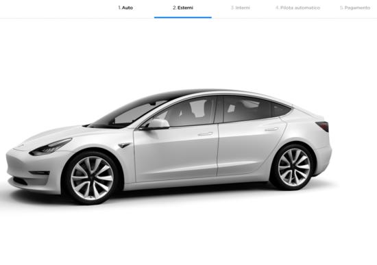 Tesla Model 3, online il configuratore italiano
