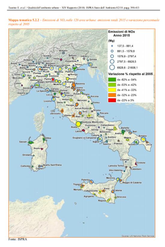 La mappa dell'andamento delle emissioni degli NOx nel periodo 2005-2015