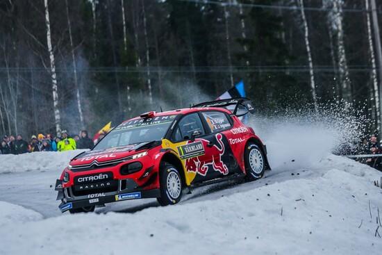 Ogier in azione nel rally di Svezia 2019