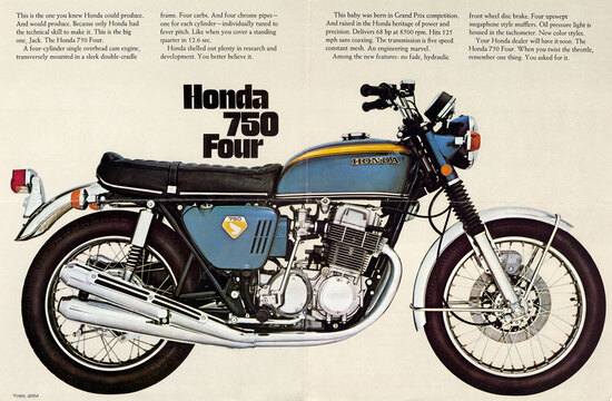 La Honda CB 750 Four è stata una autentica pietra miliare nella storia della moto, con il suo motore a quattro cilindri in linea trasversale e il freno anteriore a disco con comando idraulico. Le prestazioni erano ottime e l'affidabilità straordinaria