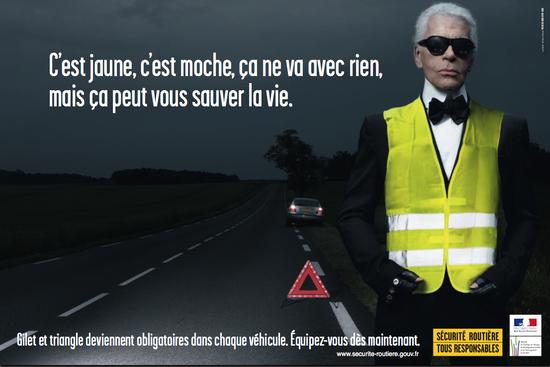2008: Karl Lagerfeld testimonial di una campagna francese sulla sicurezza stradale