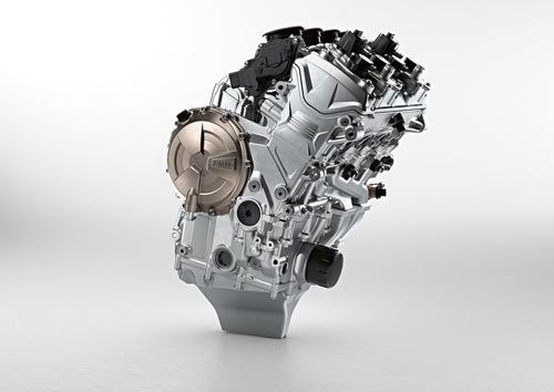 Il motore della BMW S1000RR 2019: si nota la coppa a V