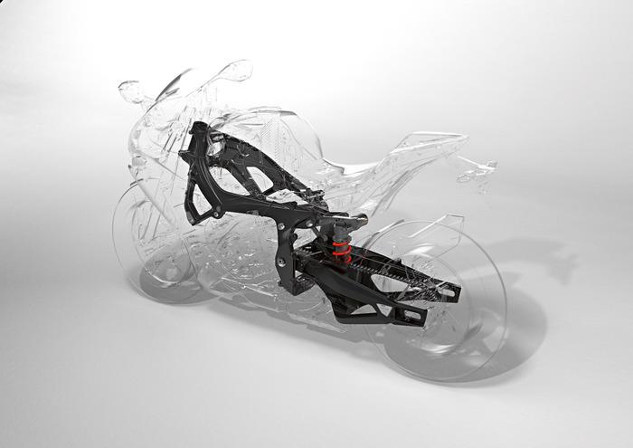 Il gruppo telaio/forcellone della BMW S1000RR