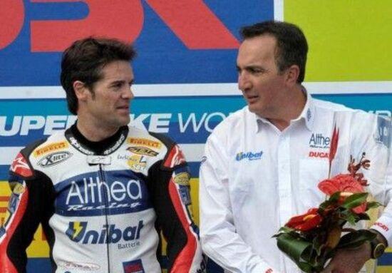 Bevilacqua con Carlos Checa all'epoca del mondiale con Ducati