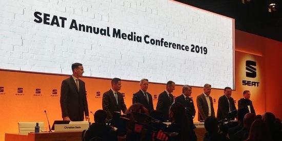 Il management di Seat. Quest'anno ad aprire i lavori della conferenza annuale è stato il numero uno del Gruppo Volkswagen Herbert Diess