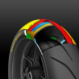 Il Dunlop Sportsmart Mk3 posteriore. Notare la mescola centrale (rosso) che si estende sotto quella della spalla (gialla)