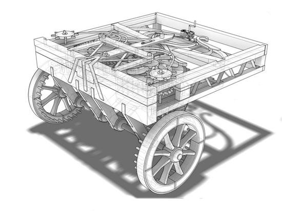 Uno schema del carro semovente ideato da Leonardo. Per molti studiosi è il progenitore, almeno nel concetto, dell'automobile