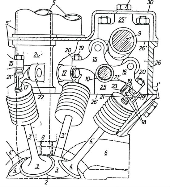 5-Disegno del brevetto Apfelbeck-BMW relativo a una testa automobilistica bialbero a valvole radiali. Per ciascun cilindro ci sono due condotti di aspirazione e due condotti di scarico. Ogni valvola viene comandata tramite due bilancieri a dito