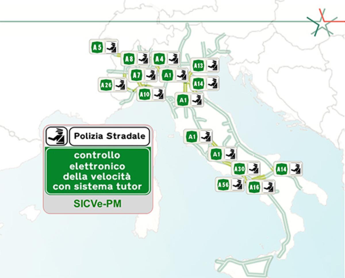 Cartina Autostradale.Tutor Attivi In Autostrada La Mappa Aggiornata News Automoto It