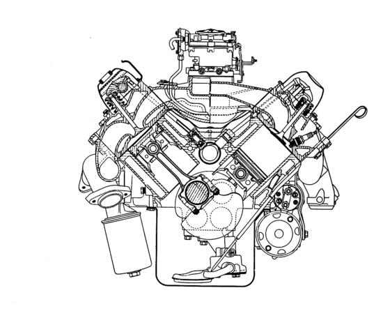 Questo V8 Oldsmobile, mostrato in sezione trasversale, è un ottimo rappresentante della classica scuola USA. La distribuzione è ad aste e bilancieri con l'albero a camme collocato centralmente. Le teste e il basamento sono in ghisa