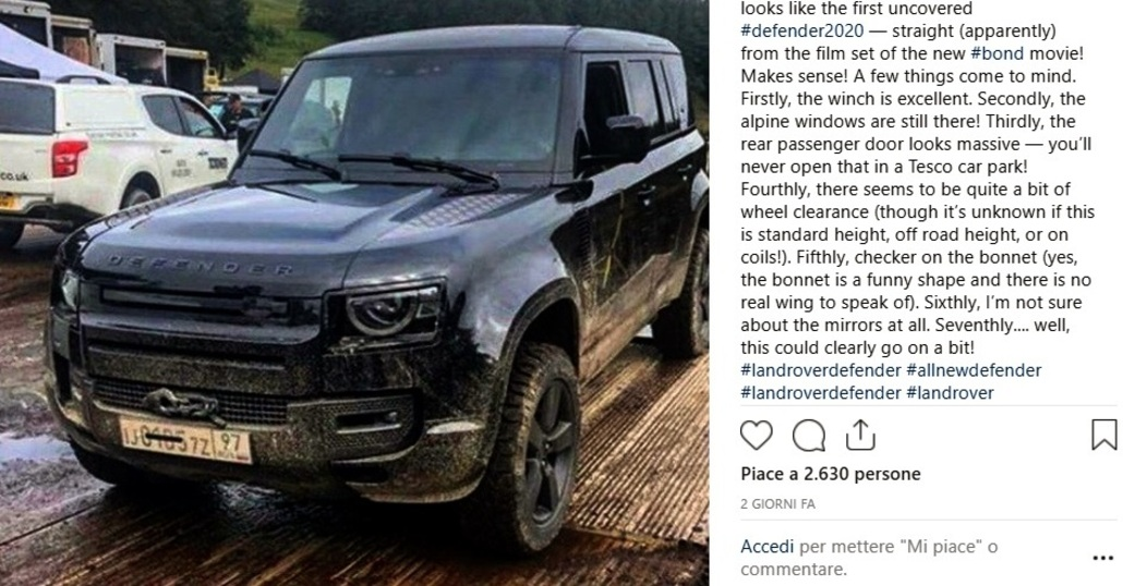 """Nuova Land Rover Defender sul set di 007 """"No Time To Die"""""""