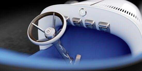 L'abitacolo della Vision Mercedes Simplex