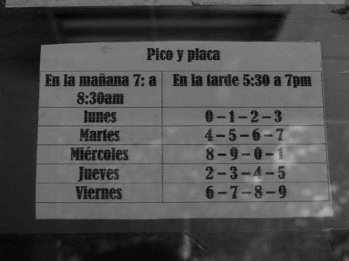 Il calendario della pico y placa, le targhe alterne colombiane