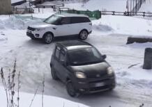 Panda 4x4 svernicia Range Rover sul ghiaccio. Quando peso e grip fanno la differenza [VIDEO]
