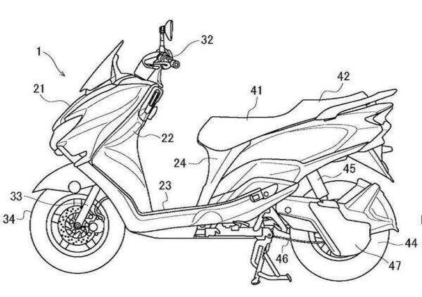 Suzuki brevetta uno scooter elettrico. Super raffreddato