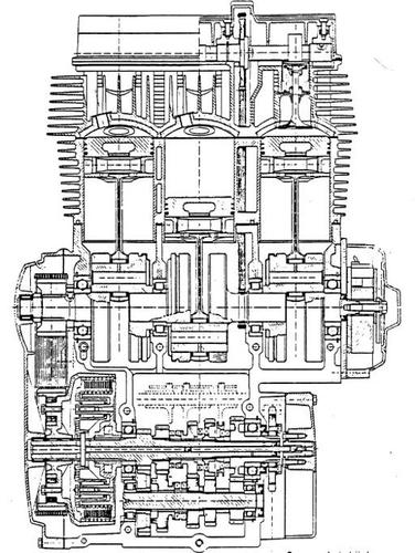 Il motore della Laverda 1000 a tre cilindri (poi cresciuta a 1200), con distribuzione bialbero, è stato per diverso tempo uno dei più potenti della intera produzione mondiale