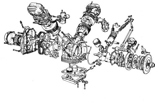 Vista esplosa di un motore Guzzi 850 della seconda metà degli anni Settanta. Si possono notare il basamento a tunnel, l'albero a gomito monolitico che lavora interamente su bronzine e la catena di distribuzione collocata anteriormente