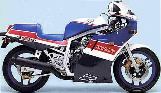 La Suzuki GSX-R 750R in un'immagine dell'epoca