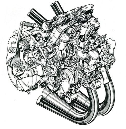 Questo splendido spaccato del motore della RG 500 di serie (seconda metà anni Ottanta) consente di osservare chiaramente la disposizione e la conformazione degli organi meccanici dello straordinario quadricilindrico Suzuki
