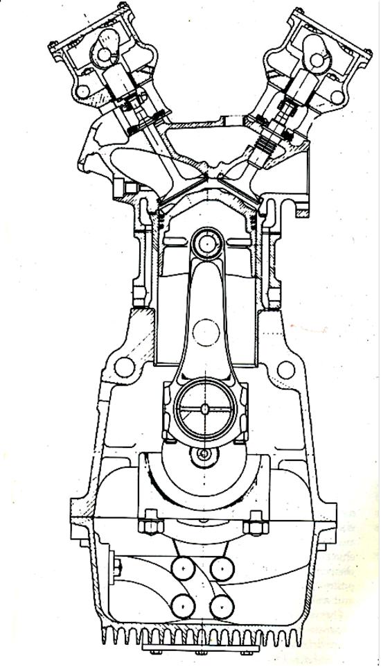 Il motore Vanwall a quattro cilindri risentiva fortemente della influenza della scuola motociclistica degli anni Cinquanta. La sezione consente di osservare le canne riportate in umido, il blocco cilindri separato sia dalla testa che dal basamento e le guide delle valvole di scarico direttamente lambite dal liquido di raffreddamento