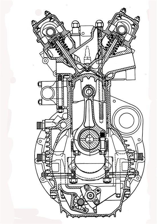La sezione del motore Coventry Climax FPF che ha consentito alla Cooper di vincere il titolo mondiale piloti nel 1959 e nel 1960 con Jack Brabham. Pure in questo caso le guide delle valvole di scarico sono lambite dall'acqua nella zona centrale. I cappelli di banco sono fissati con quattro viti, due delle quali disposte trasversalmente
