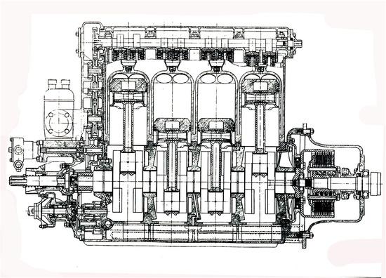 La sezione longitudinale del quadricilindrico Offenhauser consente di osservare chiaramente il basamento a tunnel, con i supporti di banco dalla tipica struttura, e le bielle con il fusto cavo. All'inizio degli anni Sessanta la versione di 4,2 litri è arrivata a erogare una potenza superiore ai 400 cavalli