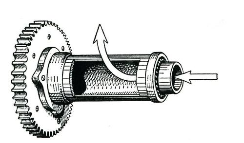 Il disegno mostra un otturatore a manicotto rotante utilizzato dalla TWN per controllare l'aspirazione nella camera di manovella. In questo caso viene comandato dall'albero a gomiti per mezzo di una coppia di ingranaggi