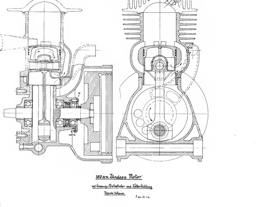 Nel 1934 la Zundapp aveva escogitato questo interessante sistema, con l'otturatore rotante ricavato direttamente in uno dei volantini dell'albero a gomito