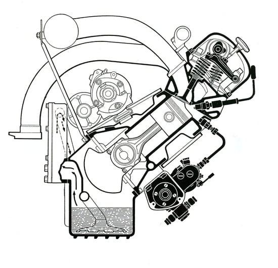 La Mercedes Benz oltre che sui motori delle sue auto da competizione dello stesso periodo, ha impiegato l'iniezione diretta, sempre di tipo meccanico, sul sei cilindri in linea della 300 SL. Questa sezione consente di osservare chiaramente la disposizione della pompa di iniezione e dell'iniettore