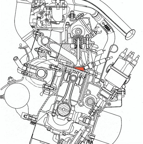Questa sezione mostra la camera a cuneo impiegata nel motore Fiat 128, entrato in produzione nel 1969. Le valvole sono inclinate rispetto all'asse del cilindro. La distribuzione è a singolo albero a camme in testa, mosso da una cinghia dentata