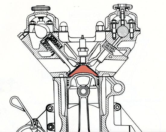 """La sezione si riferisce a un classico motore bialbero Alfa Romeo degli anni Sessanta. Le valvole sono notevolmente inclinate tra loro e la camera di combustione ha una conformazione emisferica, leggermente """"sporcata"""" dalla bombatura del pistone, necessaria per ottenere un elevato rapporto di compressione"""