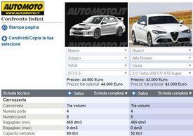 Le due schede tecniche WRX STI e Giulia Veloce 2.0 Turbo sullo strumento confronto di Automoto.it